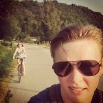 woman selfie with another woman on bicycle