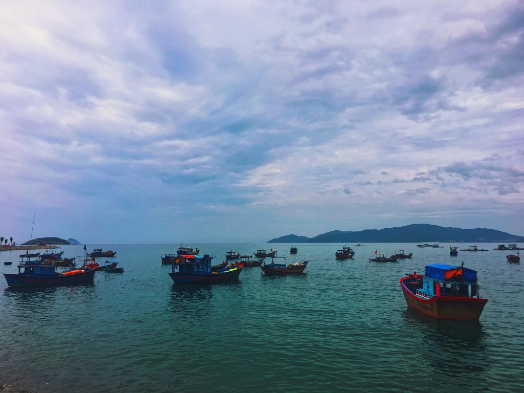 sea boats fishermen in vietnam south
